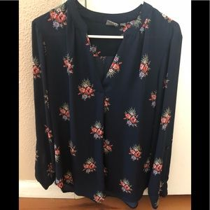 """Navy Blue Floral Blouse """"New York & Co."""" Size L"""